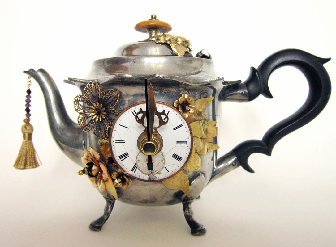 teapot clock sculptures